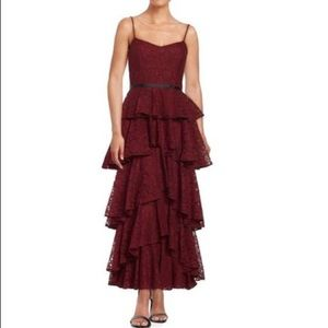 Cynthia Rowley Burgundy Floral Lace Tiered Dress